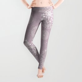 Snowflakes Pink #society6 #buyart Leggings