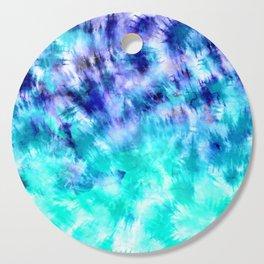 modern boho blue turquoise watercolor mermaid tie dye pattern Cutting Board