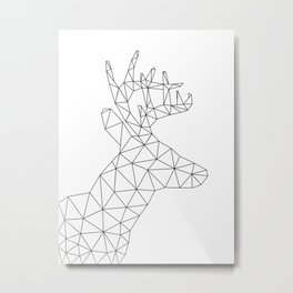 Origami Deer Head Metal Print