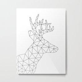 Origami Deer Head Metal Print