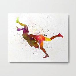 Wrestlers wrestling men 02 in watercolor Metal Print