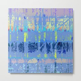 Abstract Forest Trees in Blue and Lilac Metal Print
