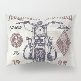 Vintage Motorcycle Poster Style Pillow Sham