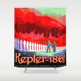 Vintage poster - Kepler-186f Shower Curtain