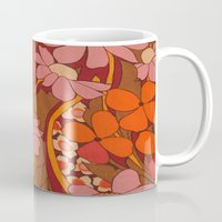 50s Mugs featuring Crazy pinks 50s Flower  by Follow The White Rabbit