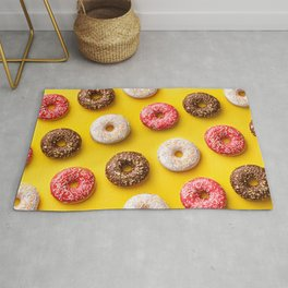 Donut lovers, delicious donuts on yellow background Rug