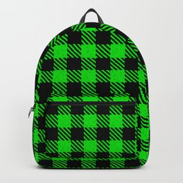 Lime  Bison Plaid Backpack