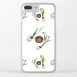 Easter flowers and birds nest pattern Clear iPhone Case