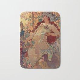 1896 AUTUMN Fall - 4 Seasons Alphonse Mucha Art Nouveau Goddess Vintage Lithograph French AUTOMNE Beauty Nature Art Wall Hanging Decor Print Bath Mat