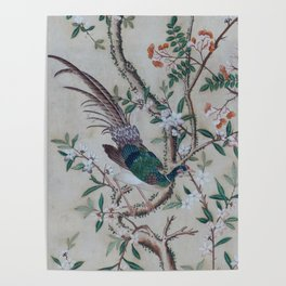 Antique Chinoiserie with Bird Poster