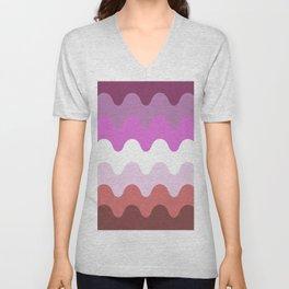 Wavy Lesbian Flag. Unisex V-Neck