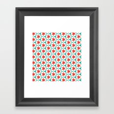 Retro Red Stars Pattern Framed Art Print