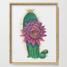 Crowned Cactus with Pink Flower Blossom Serving Tray