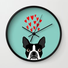 Boston Terrier - Hearts, Cute Funny Dog Cute Valentines Dog, Pet, Cute, Animal, Dog Love,  Wall Clock
