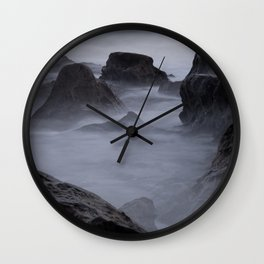 STONE FORMATIONS DURING FOGGY DAYTIME Wall Clock