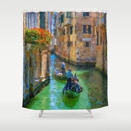 Classical picture of the venetian canals with gondola. Shower Curtain