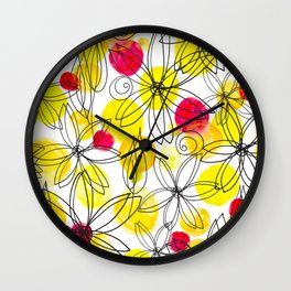 Pineapple Upside Down Floral: Bright Paint Spots with Black Ink Floral Elements Wall Clock