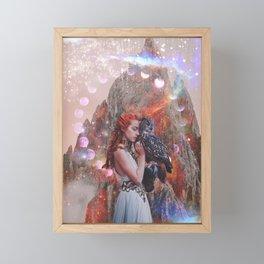 Woman and Her Owl Friend Framed Mini Art Print