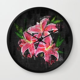 Pink lily sketch Wall Clock