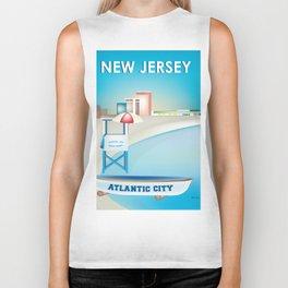 Atlantic City, New Jersey - Skyline Illustration by Loose Petals Biker Tank