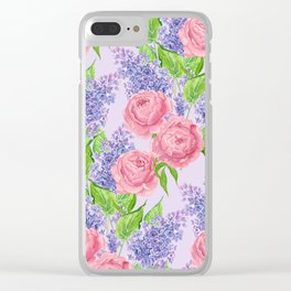 Watercolor peonies and lilacs Clear iPhone Case