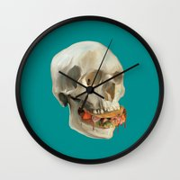 taco Wall Clocks featuring Death By Taco by Fontolia (Katie Blaker)