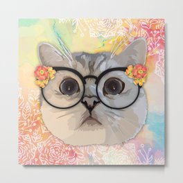 Cat with flower glasses Metal Print