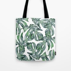 Tropical Palm Leaves Green Tote Bag