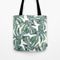 Tropical Palm Leaves Green Tote Bag