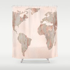 Rosegold Marble Map of the World Shower Curtain