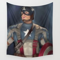 shield Wall Tapestries featuring CAPTAINS SHIELD  by Kayla Theodorou