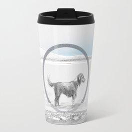 dog wading in fjord Travel Mug