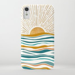 The Sun and The Sea - Gold and Teal iPhone Case