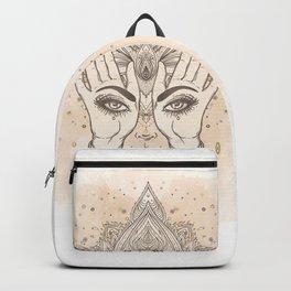 Peach & Gold Boho Lotus Backpack