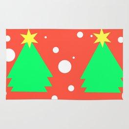 Christmas tree on red Rug