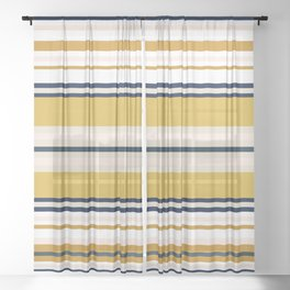 Variegated Horizontal Stripes in Mustard, Navy Blue, Blush, White, and Taupe Sheer Curtain