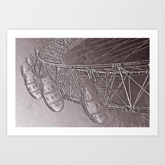 Embossed London Eye Art Print