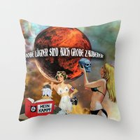 donald duck Throw Pillows featuring Donald Duck by Marina Poison