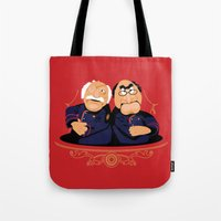 battlestar Tote Bags featuring Frakking Awful by Matt Dearden