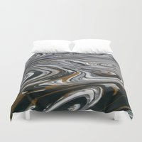 black and gold Duvet Covers featuring Black &  Gold by Chantalle Kryl Art