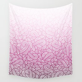 Gradient pink and white swirls doodles Wall Tapestry