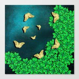 clover and butterflies Canvas Print