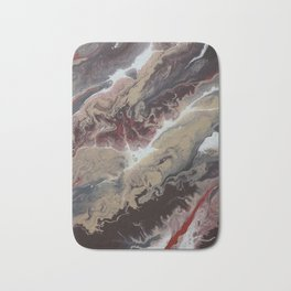 Neutral Black, Red and Brown Painting - Schism Abstract Bath Mat