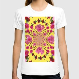 PINK-RED ROSES ON YELLOW-PINK ART T-shirt