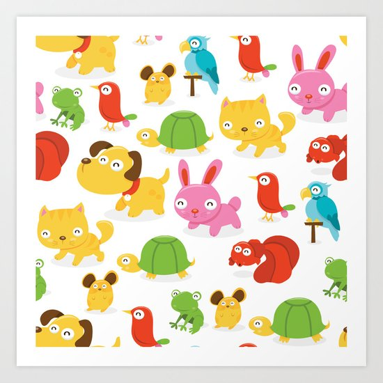 Happy Pet Shop Animals Pattern Art Print