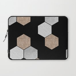 Geometric marble and rose gold on black Laptop Sleeve