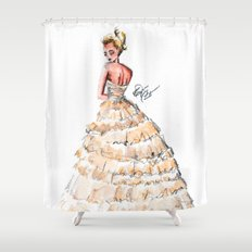 Fashion Watercolor Couture Gown Shower Curtain