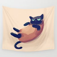 nan lawson Wall Tapestries featuring Blue Eyes by Nan Lawson
