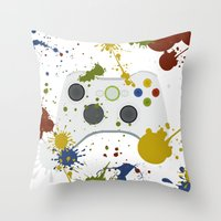 xbox Throw Pillows featuring Controller Graffitti XBOX by AngoldArts
