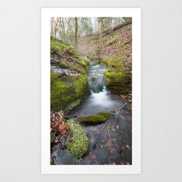 Ozark Mountain Waterfall - Vertical Panoramic Arkansas Landscape Art Print